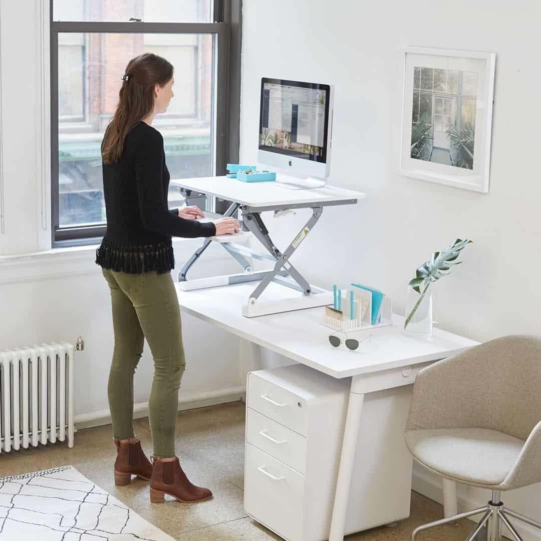 Black Medium Peak Adjustable Height Standing Desk Riser 2