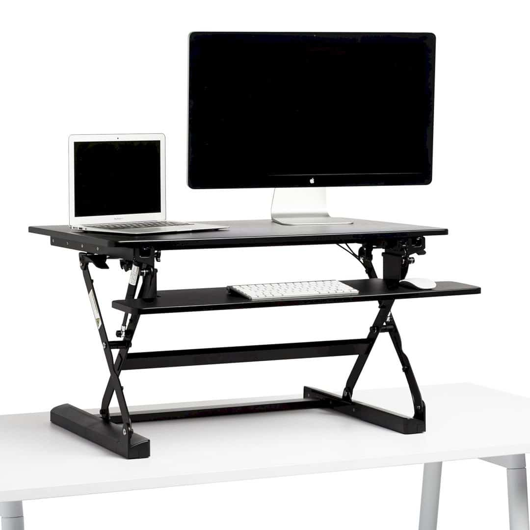 Black Medium Peak Adjustable Height Standing Desk Riser 6